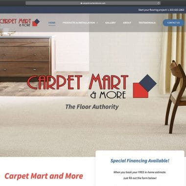 Carpet Mart and More Website Homepage